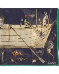 Drake's Cotton/Modal Noahs Arc Pocket Square Navy men One size Blå,Flerfarvet