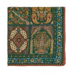Drake's Cotton/Modal Patch Work Pocket Square Green