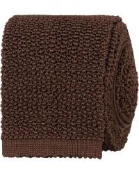 Drake's Knitted Silk 6.5 cm Tie Brown men One size Brun