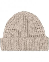 Drake's Lambswool Ribbed Hat Beige men One size Beige