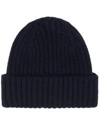 Drake's Lambswool/Angora Ribbed Hat Navy men One size Blå
