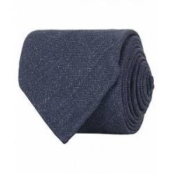 Drake's Linen Structure 8 cm Tie Dark Blue