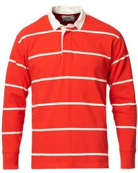 Drake's Long Sleeve Rugby Stripe Red/White men UK40 - EU50 Rød