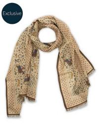 Drake's MTO Wool/Silk Printed Scarf Beige men One size Beige