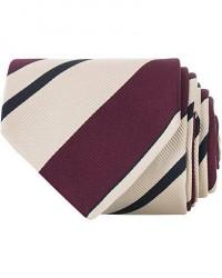 Drake's Navy Tip Reppe Silk 8 cm Tie Beige men One size Lilla,Beige