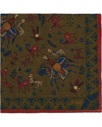 Drake's Printed Wool/Silk Mughal Rider Pocket Square Moss men One size Grøn