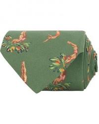 Drake's Self Tip Silk Poplin 8 cm Tie Green men One size Grøn