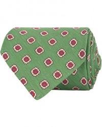 Drake's Self Tip Silk/Linen 8 cm Tie Green men One size Grøn