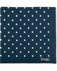 Drake's Silk Twill Dot Pocket Square Navy/White