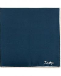 Drake's Silk Twill Pocket Square Navy men One size Blå