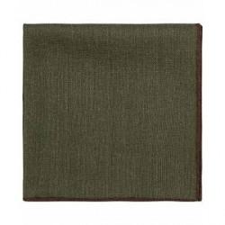 Drake's Wool Plain Pocket Square Olive