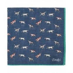 Drake's Wool/Silk Dogs Print Pocket Square Navy