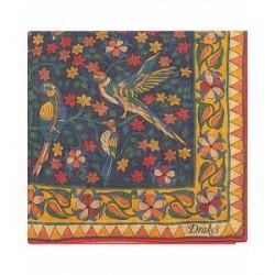 Drake's Wool/Silk Printed Birds Pocket Square Navy