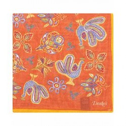 Drake's Wool/Silk Printed Birds Pocket Square Orange