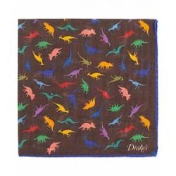 Drake's Wool/Silk Printed Dinosaur Pocket Square Brown