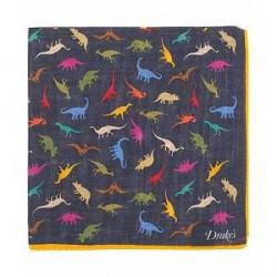 Drake's Wool/Silk Printed Dinosaur Pocket Square Navy