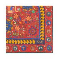 Drake's Wool/Silk Printed Pocket Square Red