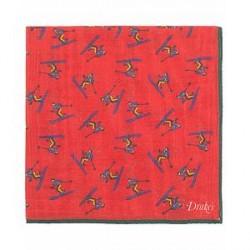 Drake's Wool/Silk Printed Skier Pocket Square Red