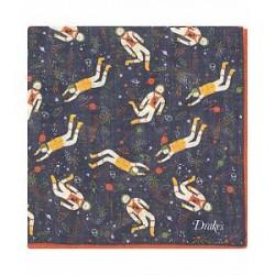 Drake's Wool/Silk Printed Space Pocket Square Navy