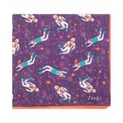 Drake's Wool/Silk Printed Space Pocket Square Purple