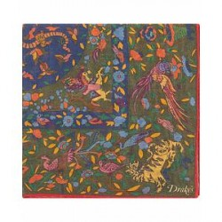 Drake's Wool/Silk Printed Tiger Pocket Square Green