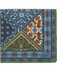 Drake's Wool/Silk Prited Pocket Square Blue men One size Blå