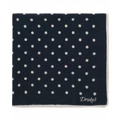 Drake's Wool/Silk Spot Dot Print Pocket Square Navy
