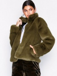 Dry Lake Cozy Collar Jacket Faux Fur Green