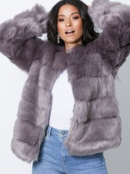 Dry Lake Cozy Jacket Faux Fur Grey
