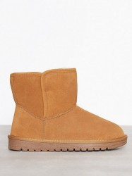 Duffy Leather Warm Boots Flat Camel