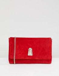 Dune Baloo Red Suede Clutch Bag With Twist Lock Opening And Detachable Strap - Red