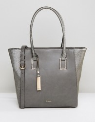 Dune Damazing Grey Pewter Structured Tote Bag - Grey