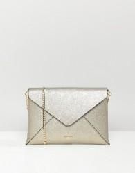 Dune Enria Gold Metallic Envelope Clutch Bag With Detachable Strap - Gold
