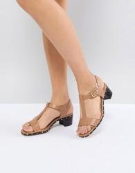 Dune Leather Beige Studded Heeled Sandals - Beige