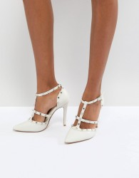 Dune London Bridal Studded Court Shoe with Pointed Toe and Caging Detail - Cream
