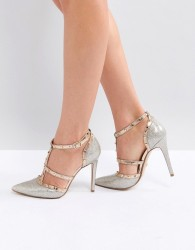 Dune London Deanerys Studded Caged Pointed Court Shoe - Gold