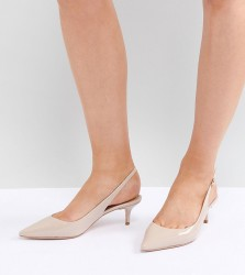 Dune London Wide Fit Casandra Patent Slingback Kitten Heeled Shoes - Cream