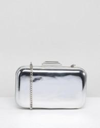 Dune Silver Metallic Box Clutch with Chain Strap - Silver