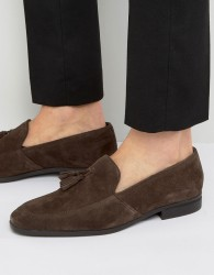 Dune Tassel Loafers In Brown Suede - Brown