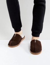 Dunlop Slip On Suede Slippers - Brown
