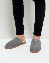 Dunlop Slip On Suede Slippers - Grey