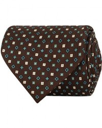 E. Marinella 7-Fold Printed Micro Pattern Silk Tie Brown/Teal 8 cm men One size Brun