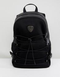 EA7 Faux Leather Logo Backpack in Black - Black