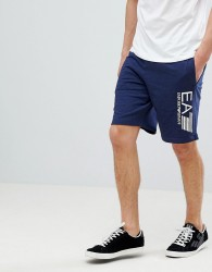 EA7 Large Logo Sweat Shorts In Blue - Blue