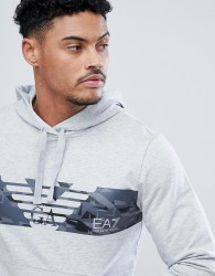 EA7 Overhead Graphic Hooded Sweat In Grey - Grey