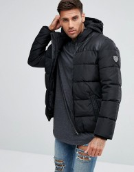 EA7 Padded Faux Leather Chest Detail Jacket In Black - Black