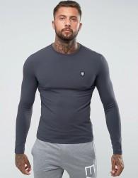 EA7 Shield Logo Long Sleeve Stretch T-Shirt In Grey - Grey