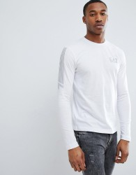 EA7 Slim Fit Long Sleeve Stripe Top In White - White