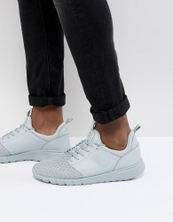 EA7 Woven Knit Racer Trainers In Grey - Grey