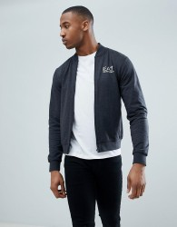 EA7 Zip Through Bomber Logo Sweat In Dark Grey - Grey
